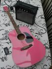 Gear4music Electro Acoustic pink Guitar E-120PINKEO 15w Amp, tuner, bag for sale