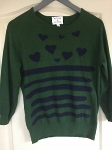 Antoni & Alison green hearts cotton / cashmere jumper sweater 3/4 sleeve L UK 14