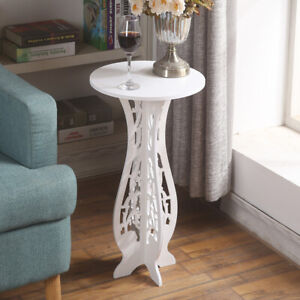 White Round Coffee Tea Side End Tables Rack Stand Modern Furniture Room Décor