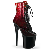Pleaser FLAMINGO-1020OMB Women's Red Burgundy Glittered Ombre Patent Black Boots