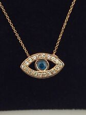 14kt Rose Gold Evil Eye White And Blue Diamond Pendant Necklace (0.75ctw)