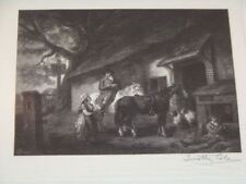 "Antique Hand Signed Timothy Cole Woodcut ""The Halt"""
