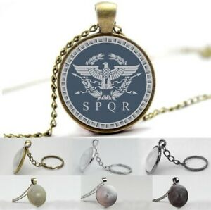 SPQR - Ancient Roman Phrase - Photo Glass Dome Necklace, Pendant, Keyring