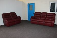 G PLAN MISTRAL, PAIR OF ELECTRIC RECLINING 3+2 SEATER SOFAS IN BERRY RED LEATHER