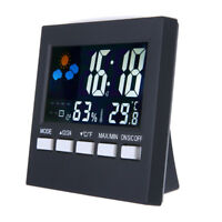 LCD Alarm Weather Digital Display Thermometer Humidity Clock Colorful Calendar