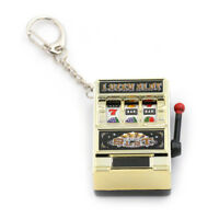 Mini Slot Machine Game Flashing Keychain Lucky charm key chainsW6