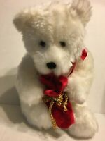 "GUND White Bear Holding A Red Bag 14"" Plush Stuffed Animal"