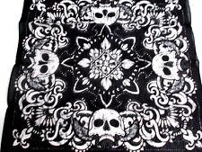 Gray & Black & White Large Print w Skulls On Wings &Ornate Swirls Bandana Scarf