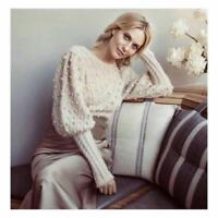 Unbridled Bauble Cropped Blouson Sleeve Knitwear Sweater  2 Colors knitted tops