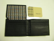 NWT BOCONI Gregory Flip ID Passcase Black leather Wallet with  Navy & Brown
