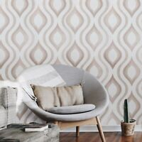 textured ogee modern wallpaper off white ivory bronze Metallic geometric roll 3D
