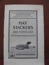 Hay Stackers & Their Use Illus Brochure 1929 USDA Farmers Bulletin Derrick/Rope+