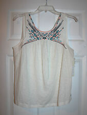 Roxy Juniors L Baby Doll Sleeveless Embroidered Ivory Tank NWT