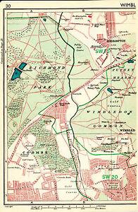 London 1947 orig. city map (part) SW15 SW20 Wimbledon + SE2 SE18 Plumstead