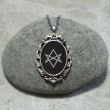 Unicursal Hexagram Pendant Necklace Satanic Occult Jewelry Antique Silver