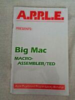 Big Mac A.P.P.L.E. Apple II Computer 1981 Macro-Assembler/TED Quick Ref Codes