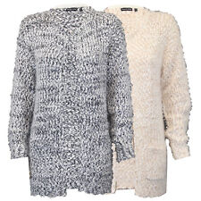 Ladies Cardigan Brave Soul Womens Mohair Popcorn Knitted Open Front Boyfriend