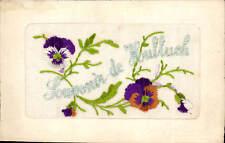 WW1 Silk. Souvenir de Hulluch by CM/MC,Paris. Pansies.