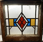 Antique+VICTORIAN+Leaded+STAINED+GLASS+Old+DIAMOND+Pattern+SALVAGED+HOUSE+WINDOW