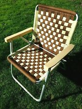 Vintage Aluminum Macrame Folding Lawn Chair White Brown Check Hand Woven