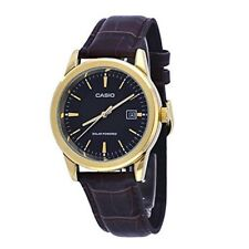 Casio MTP-VS01GL-1A Men's Solar Gold Tone Leather Date Watch