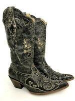 Corral Vintage Women's 9.5 Lizard Inlay Black Leather Western Cowboy Boots C2108