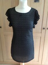 FANTASTIC MISS SELFRIDGE BLACK DECORATIVE MINI DRESS/LONG TOP UK SIZE 6 WORN