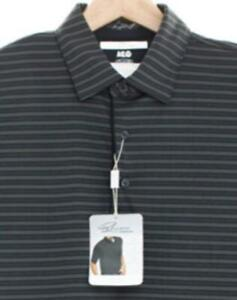 Greg Norman Golf Men's Black Tonal Stripe Play Dry Wicking Collar Polo Shirt Top