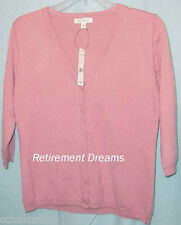 BOGARI Cardigan S Sweater Coral Pink V Neck NEW