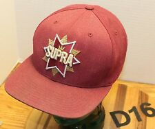 STARTER SUPRA FOOTWEAR HAT BURGUNDY SNAPBACK ADJUSTABLE EMBROIDERED VGC D16