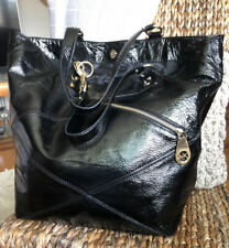 MICHAEL KORS XL RUNAWAY Black Patent Leather Tote Shopper Carryall Weekend Bag👌