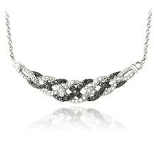 1/10ct TDW Black Diamond Intertwined Braided Necklace