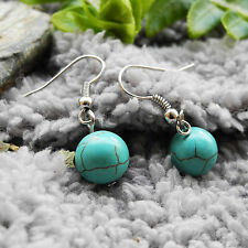 Turquoise Stone Ball Bead Drop/Dangle Hook Earrings Lady Girl Gift L-3.2cm