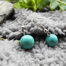 Turquoise Stone Ball Bead Drop/Dangle Hook Earrings Lady Girl Gift L-3.2cm