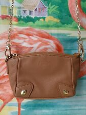 Perlina Mini Tan Camel Brown Leather Gold Chain Studded Crossbody Club Purse