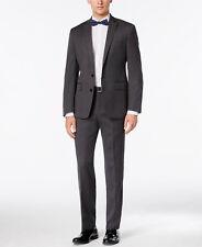 $845 RYAN SEACREST Mens Slim Fit Wool Suit Gray Dot 2 PIECE JACKET PANTS 36R