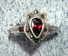 Ladies  Sterling Silver, Garnet & Marcasite  Ring size 6 1/2  New Old Stock