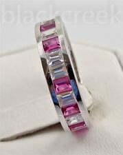 2ct. Ruby & White CZ Sapphire Baguette Eternity  925 Sterling Silver Ring Sz 8