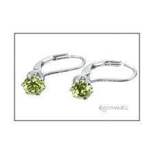 Sterling Silver CZ Leverback French Hook Earrings Olive Green #65124