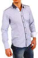 Camicia Uomo Maniche Lunghe BAXMEN Shirt A646 Slim Fit Celeste Tg S M