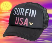 New ROXY Truckin Surfin USA 4th Of July Womens Snapback Trucker Hat Cap