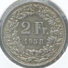 Switzerland / Schweiz / Suisse KM-21 2 francs 1958 VF+