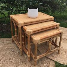 Retro Cane Nest of Tables Set of 3 Side Table Coffee Table Rectangle Rattan