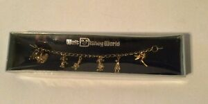 Vintage Walt Disney World Child Size Charm Bracelet Gold Tone 6 charms NOS NIB