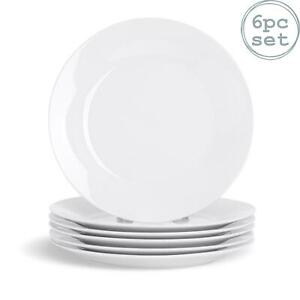 White Dessert Dinner Plates Wide Rimmed. Porcelain Crockery - 190mm - x6