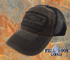 NEW Chevrolet Chevy Rugged Black Brown Grease Mens Adjustable Trucker Cap Hat