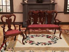 MINIATURE ARTISAN SIGNED IVAN LAWSON '81 UPHOLSTERED SEAT SETTEE AND ARM CHAIR