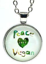 """Vegan Pendant Glass Cabochon Peace Love Vegan Statement Veggy Necklace 20"""" Chain"""