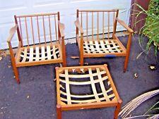 Mid Century Modern Pair Scandinavian Lounge Chairs & Ottoman Folke Ohlsson