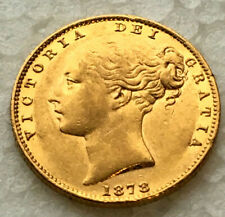 22 ct gold   1878 Victoria Shield  Full Sovereign  mint state #33158